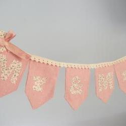 Pink Linen and lace Mr ans Mrs Wedding banner